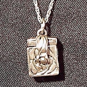 "Sterling Silver Prayer Box w/ 18"" Rope Chain"